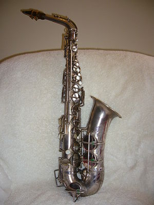 Plating - A silver-plated alto saxophone