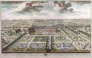 Parterre - Kensington Palace engraved by Jan Kip for Britannia Illustrata, 1707/8