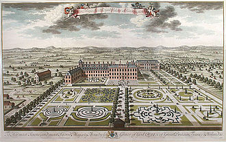 Kensington Palace - Kensington Palace south front with its parterres, engraved by Jan Kip, 1724.