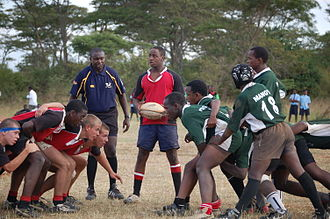Rugby union in Kenya - Rift Valley Academy take on Mang'u High School in a Prescott Cup game.