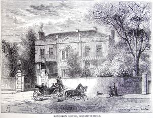 "Kingston House estate, London - ""Kingston House, Knightsbridge"", engraving circa 1878"