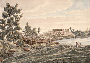 Kingston Mills - Kingston Mills. Watercolor by James Pattison Cockburn, ca. 1830