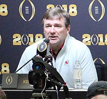 Kirby Smart at a press conference.