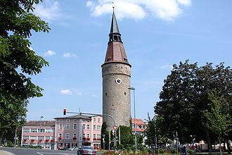 Kitzingen - The Crooked Tower (Falterturm) in Kitzingen.