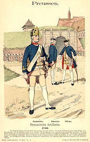 Бомбардир прусської армії 1750