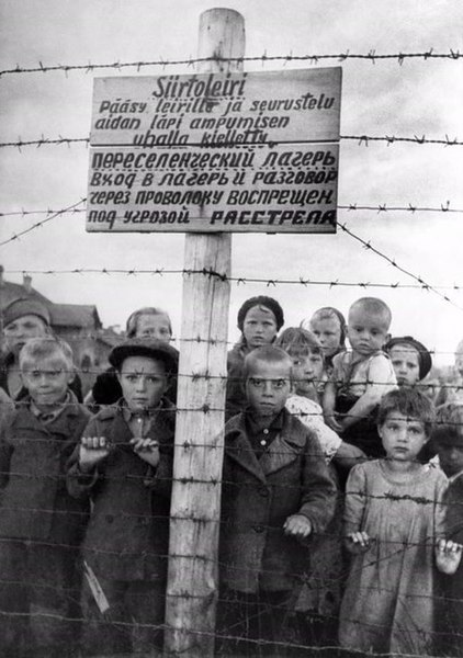 Soviet children at a formerly Finnish-run internment camp in Petrozavodsk on 29 June 1944, one day after the Finns left the area.