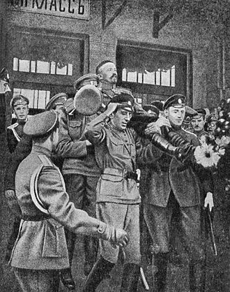 Kornilov affair - Kornilov greeted by his officers