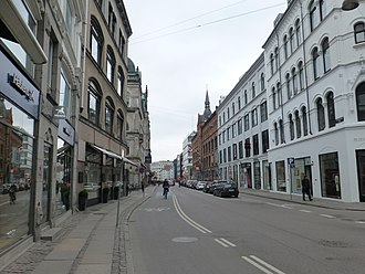 Cycling in Copenhagen - Some streets have bike lanes on roadway level