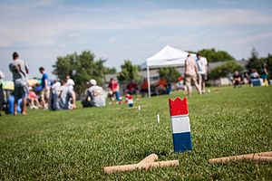Kubb - Kubb King on an unused pitch during final rounds of the 2013 USA Kubb National Championship