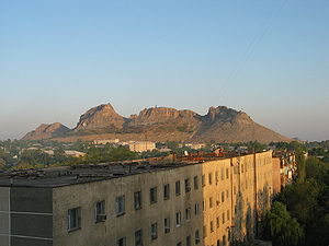 View of the mountain from the city of Osh.