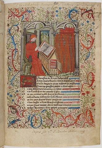 Le Livre de l'Espérance - Illuminated first page of Oeuvres diverses d'Alain Chartier et pièces anonymes (Various Works of Alain Chartier and anonymous pieces), said to depict the author at his desk.