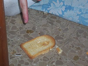Buttered toast phenomenon - This is an example of toast that has landed butter-side down.