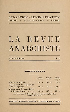 Image illustrative de l'article La Revue anarchiste (1929-1936)