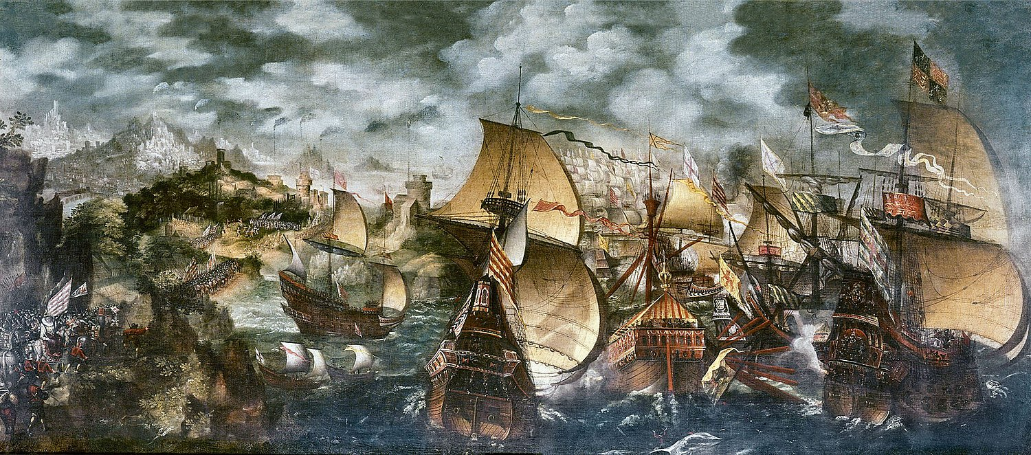 Elizabeth I and the Spanish Armada; the Apothecaries painting, sometimes attributed to Nicholas Hilliard. A stylised depiction of key elements of the Armada story: the alarm beacons, Queen Elizabeth at Tilbury, and the sea battle at Gravelines. La batalla de Gravelinas, por Nicholas Hilliard.jpg