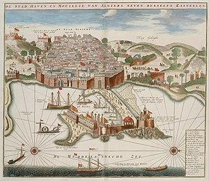 Bombardment of Algiers (1784) - Image: La cite le port et le mole d Alger