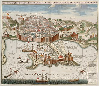 Bombardment of Algiers (1784) - Algiers' harbour. Engraving from 1690.