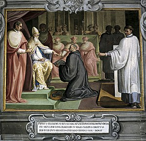 Donation of Pepin - Painting depicting Abbot Fulrad giving Pepin's written guarantee to Pope Stephen II