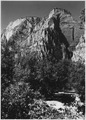 Lady Mountain from above campgroud. So named because of lady's figure to be seen on east face from Zion Lodge. - NARA - 520383.tif