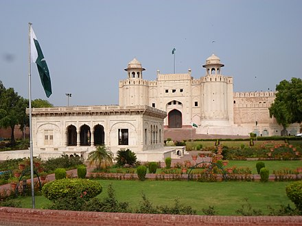 The iconic Alamgiri Gate of the Lahore Fort was built in 1674, and faces Aurangzeb's Badshahi Mosque. Lahore Fort-2.JPG