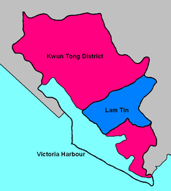 Map showing Lam Tin's location in Kwun Tong District