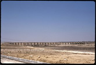 Kamares Aqueduct - Larnaca, Cyprus, the aqueduct known as Karmares, general view in 1973 before modern developments in the area.