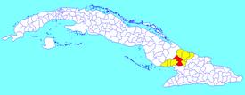Las Tunas-municipo (ruĝa) ene de Las Tunas (flava) kaj Kubo