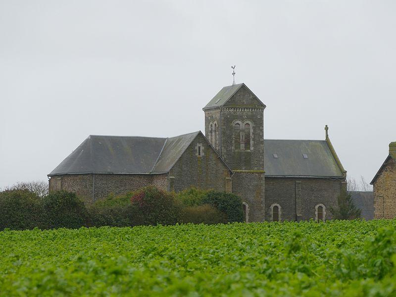Saint-Laurent de La Baroche-Gondouin's church in Lassay-Les-Châteaux (Mayenne, Pays de la Loire, France).