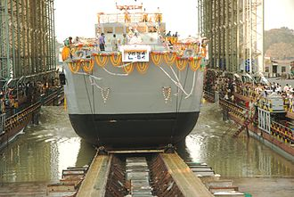 Garden Reach Shipbuilders & Engineers - Image: Launching of Yard 2095 (3)