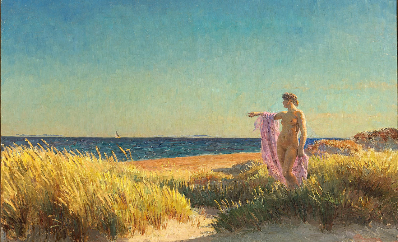 Laurits Tuxen - Ung pige pе Skagen strand.png