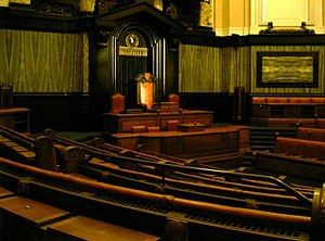County Hall, London - Council Chamber of the LCC, from the majority benches