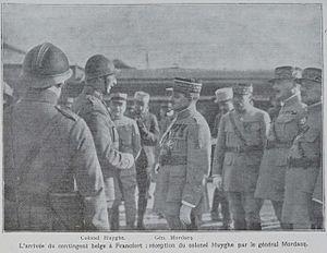 Armand Huyghé - Huyghé (centre-left) meeting French general Henri Mordacq in Frankfurt in 1920