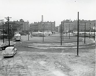43 (MBTA bus) - Route 43 trolleys at the Lenox Street loop in August 1956, two months after the loop became the new outbound terminus of the line