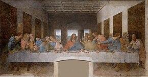 Ο Μυστικός Δείπνος (1495-1498). Τοιχογραφία που σήμερα είναι αρκετά κατεστραμμένη.