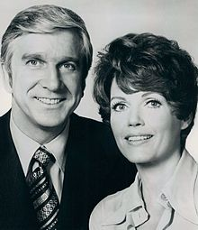 Leslie Nielsen-Elizabeth Allen in Bracken's World.jpg