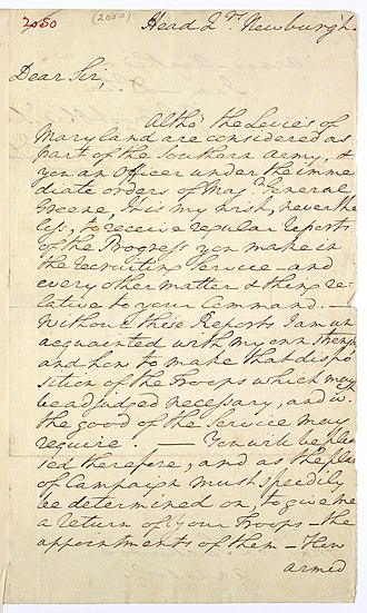 William Smallwood - Letter from George Washington to Gen. Smallwood asking for an update on recruiting troops. July 1782.