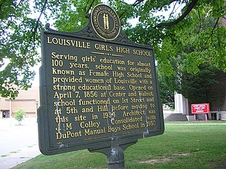 DuPont Manual High School - Historic marker for Louisville Girls High School
