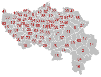 Liège (province) - Map of the municipalities in Liège