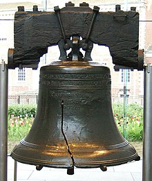 a large bronze bell with a pronounced crack in it, hangs from a blackened wooden yoke. This is the Liberty Bell