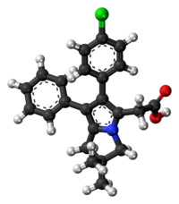 Ball-and-stick model of the licofelone molecule