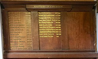 Master in College - Display board at Eton listing the current and previous Masters in College as of 2015