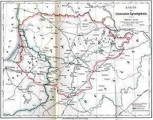 Ethnographic Lithuania - Image: Litauisches Sprachgebiet (1876)