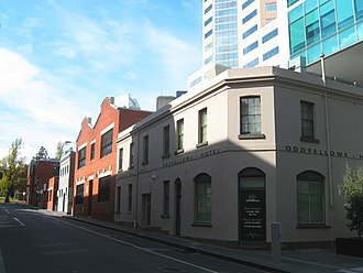 "Little Lon district - The Oddfellows Hotel, built in 1853, on the corner of Little Lonsdale Street and ""Madam Brussels Lane"" (Little Leichardt Street)"