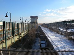 The BMT Canarsie Line and the Bay Ridge Branch in Brooklyn, New York, after a snowstorm