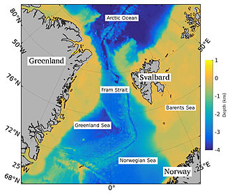 Fram Strait - Fram Strait is located between Svalbard and Greenland.  It is the only deep passage between the Arctic and World Oceans.