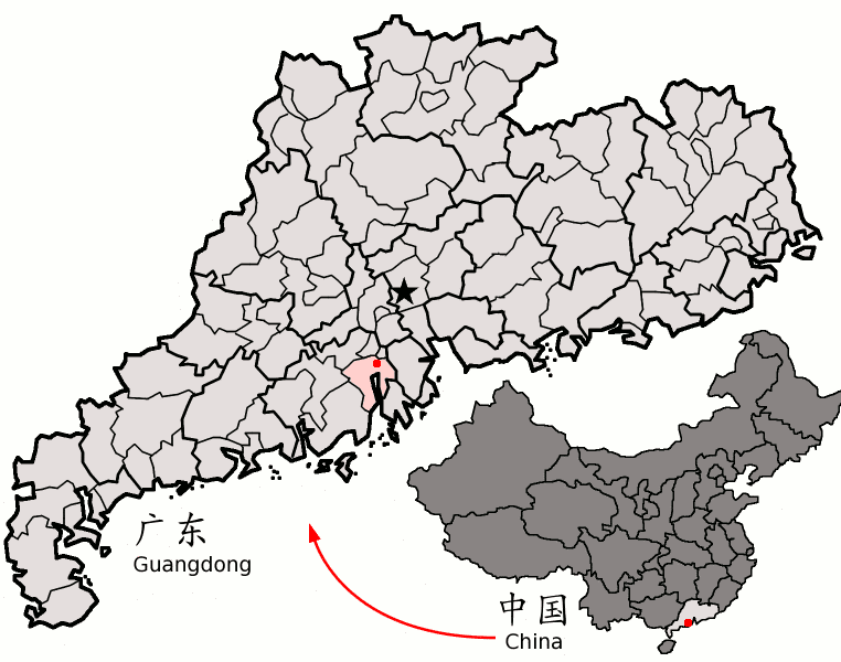 Xinhui District (red) within Guangdong
