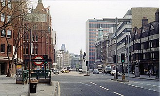 High Holborn - High Holborn in 1984. On the right is Staple Inn, with its distinctive timber-framed façade, and in the centre of the street is the Royal London Fusiliers Monument