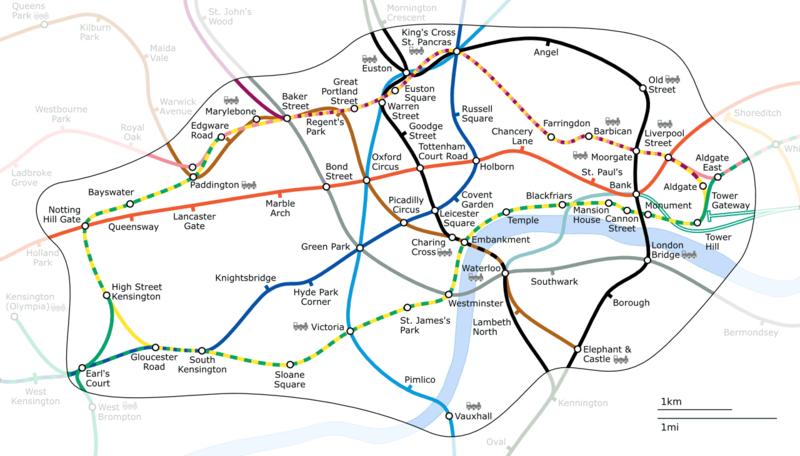 Carte du métro de Londres : Les distances entre les stations sont réelles.