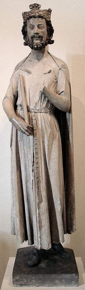 Abbey of Saint-Germain-des-Prés - Limestone sculpture of Childebert, from the former refectory portal (Louvre)