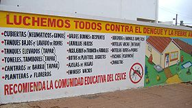 A public service ad teaching people how to prevent dengue and yellow fever, in Encarnación, Paraguay (2007)