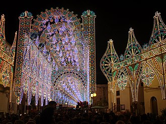 Diso - A sequence of colourful lights in the city centre during the Feast of St Philip and St James, the patrons saints of the city.